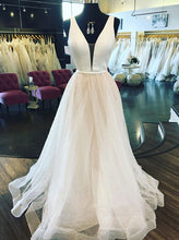 A Line Plunging Neckline Sparkly Glitter Tulle Long Wedding Dress OW338