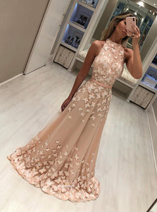 A Line Prom Dress Butterfly Appliqued High Neck Formal Long Party Gown OP513
