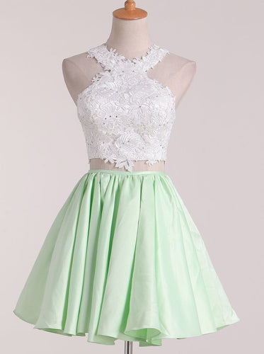A Line Satin Lace Applique Two-Piece Scoop Short Prom Homecoming Dress OP328