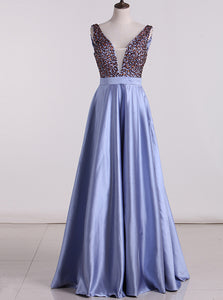 A Line Satin V Neck Beaded Rhinestone Backless Long Prom Dress OP339