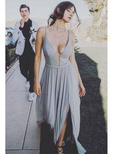 A Line Spaghetti-straps Plunging V-neck Long Prom Dress, Sexy Split Evening Dress OP336