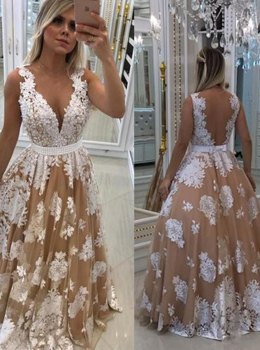 A Line Tulle Illusion Back Lace Appliques Long Prom Dress With Pearls OP288