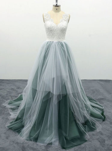 A Line Tulle Long Prom Dress With Lace Top, Backless Evening Gown OP683