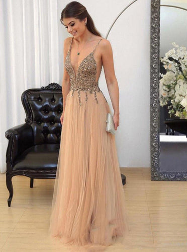 A Line Tulle V Neck Beaded Bodice Backless Prom Evening Dress OP342