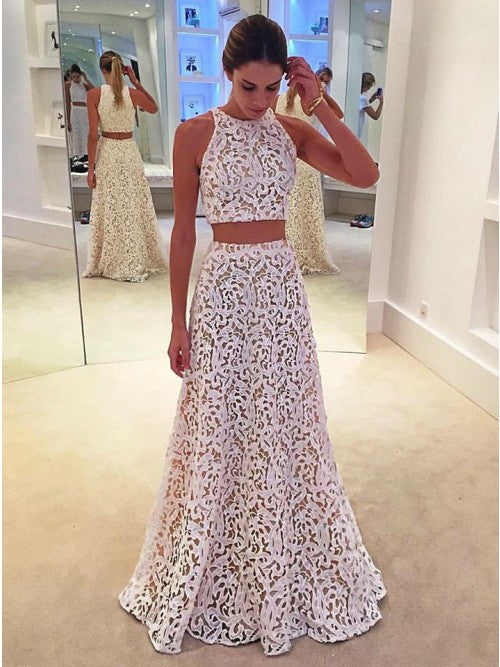 A Line Two Piece Lace Long Prom Dress Round Neck Floor-Length OP366