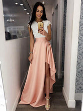 Cap Sleeves Round Neck Lace Bodice Asymmetry Pink Satin Prom Dress, OP180