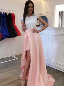 167320abefb Cap Sleeves Round Neck Lace Bodice Asymmetry Pink Satin Prom Dress ...