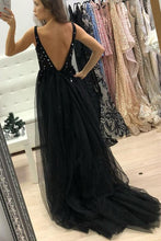 Backless Black Long Prom Dress Sequins A-Line V-neck Tulle with Split OP355