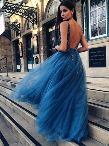 Backless Blue A-Line V-neck Tulle Long Prom Dress with Beading OP323
