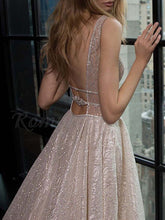 Sparkly A-Line Sequins Plunging Neckline Backless Long Prom Dress, OP209