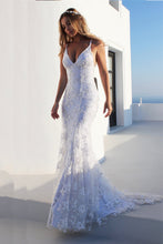 Fancy Backless Mermaid Wedding Dress White Spaghetti Straps Tulle OW346