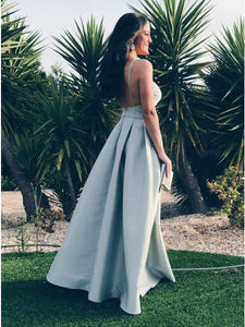 Spaghetti Straps Backless Light Blue Satin Prom Dress, Sexy Evening Dress, OP184