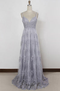 Backless Tulle Grey Prom Dresses with Straps, Long Beach Bridesmaid Dress OP476