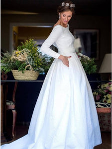 Backless Wedding Dress A-Line Bateau Long Sleeves Bridal Gown With Pocket OW355