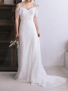 Spaghetti-straps Drop Sleeves Boho Beach Maternity Bridal Gown, OW317