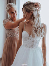 Beach Bridal Gowns Tulle A Line Spaghetti Backless Wedding Dresses OW376