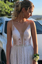 Beach Lace Wedding Dress A-Line Spaghetti Straps Bridal Gown OW403