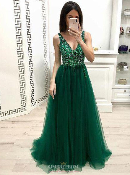 Beaded Bodice V-neck Green Long Prom Dress 8th Graduation Dress OP647