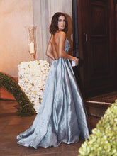 Sexy Backless Spaghetti Straps Taffeta Beaded Prom Dresses, Long Evening Party Dress, OP135