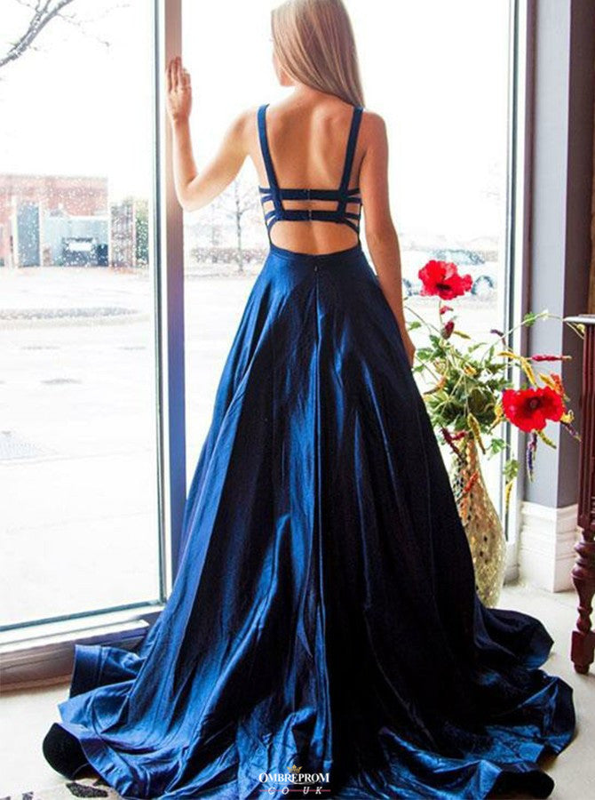 Beautiful Open Back Royal Blue Prom Dress Long Satin Formal Gown OP523
