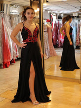 Black Backless Long Prom Dresses With Red Appliques, Sexy Split Evening Gown OP484