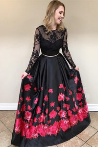 Black Lace Long Sleeves Prom Dress Floral Print Two Piece With Beading OP569