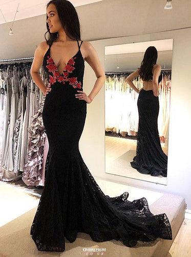 Black Lace Mermaid Prom Dresses V Neck Backless Evening Gown OP524