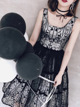 Square Neck Black Lace Short Homecoming Dress, Ball Gown Party Dress, OP216