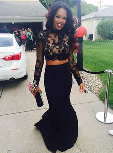 Black Satin Mermaid Long Sleeves Two Piece Prom Dress With Lace Appliques OP383