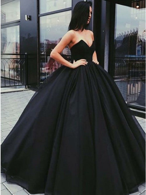 Black Tulle Sweetheart Pleats Prom Dress Ball Gown Floor-Length OP322