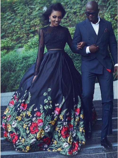 Black Two Piece Lace Long Sleeves Floral Prom Dress Keyhole Back OP374