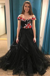 Black Two Piece Off-the-shoulder Appliques Top Prom Dresses With Tulle Layered OP555