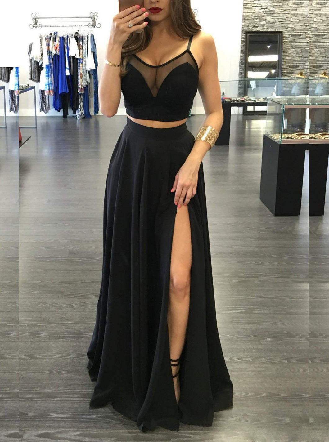 Black Two Piece Prom Dress A-line Spaghetti Straps Evening Dress With Split OP356