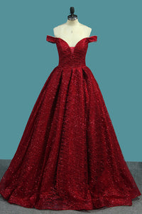 Sparkly Princess Red Off-The-Shoulder Ball Gown Prom Dress OP358