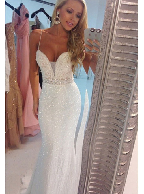 Bling Spaghetti Straps Long Mermaid Trumpet Prom Dress, Backless Wedding Dress OW328
