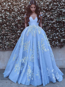 Blue Long Prom Dress Off The Shoulder Tulle Ball Gown With Appliques OP432