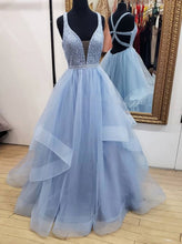 Blue Long Prom Dresses Deep V Neck Tulle Party Dresses OP456