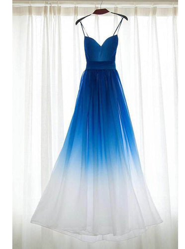 Spaghetti Straps Ombre Blue Bridesmaid Dresses, A Line Long Prom Dress OB126
