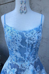Blue Spaghetti-Straps Tulle Lace Long Prom Dress With Appliques OP414