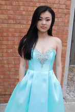 Blue Sweetheart Beading Long Prom Dress Sweep Train With Pockets OP433