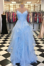 Blue Tulle Long Prom Dress Layered 8th Graduation Gown OP463