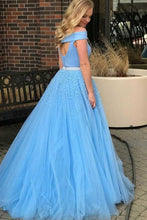 Blue Two Piece Tulle Long Prom Dress A Line Off Shoulder with Beading OP357