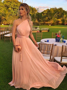 Blush A Line One Shoulder Flowy Chiffon Long Bridesmaid Dresses OB180