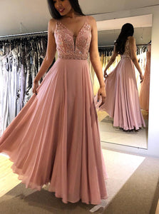 Blush Chiffon Long Prom Dress with Beading, A Line V Neck Evening Gown OP572