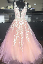 Blush Pink Long Party Dress V-neck Applique Prom Wedding Dress OP431