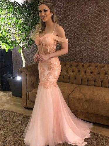 Spring Blush Mermaid Spaghetti Prom Dress Drop-Sleeves Party Gown OP442