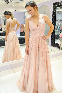 Blush Pink A-line Prom Gown Spaghetti Tulle Appliques Dress OP603