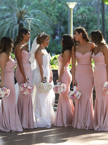 Blush Pink Long Bridesmaid Dresses Sweetheart Mermaid With Sweep Train OB181