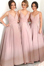 Blush Pink Sequins Bodice Bridesmaid Dresses Satin A-Line V-Neck OB183