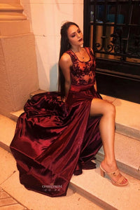 Burgundy Long Prom Dress A-line Flowy Split Evening Gown With Appliques OP491